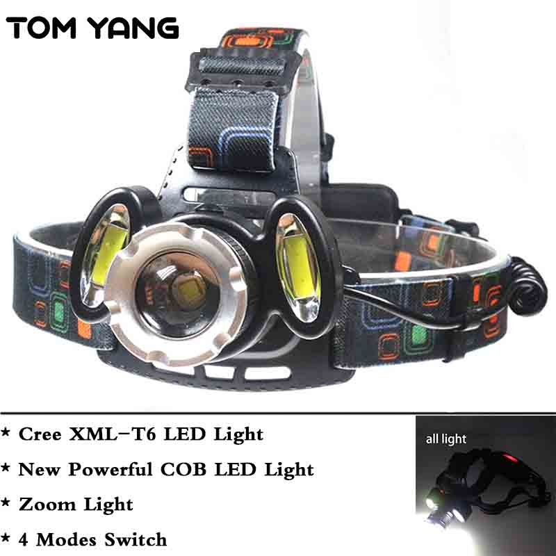 TOM YANG Powerful COB LED Headlight Cree XML-T6 Zoomable Headlamp Light 4 Modes Lamp Lantern Waterproof Zoom Camping LED Zaklamp стоимость