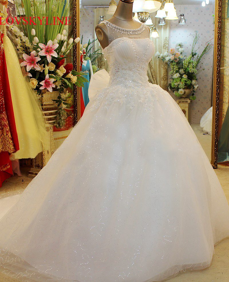 Wedding Dress 2018 Vestido de noiva Lace Embroidered Beading Vintage Sweet Straps yarn puff Wedding dress