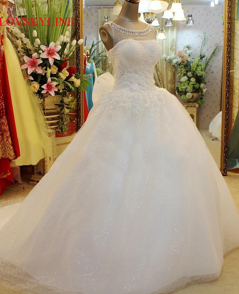 Wedding Dress 2018 Vestido de noiva Lace Embroidered Beading Vintage Sweet Straps yarn puff Wedding dress 2018 Wedding gowns-in Wedding Dresses from Weddings & Events    1