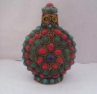Artesanía de metal Tibet antiguo hecho a mano cobre todo incrustado Semi Cuentas de piedras preciosas botella de rape/botella|bottle bottle|copper bottlecopper craft -