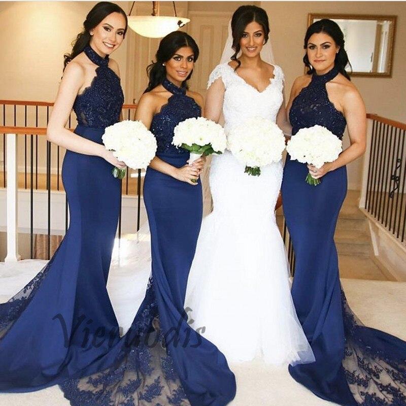 28-1         2019 fashion navy blue mermaid Bridesmaid gowns halter Satin Crystal Beaded lace applique Bridesmaid Dresses