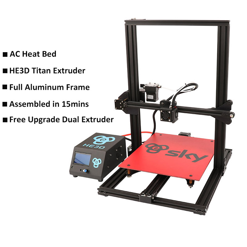 HE3D ciel 3D Imprimante 300X300X400mm impression Impresora 3D prémonté avec Titan Extrudeuse, gratuitement la mise à niveau à double extrudeuse