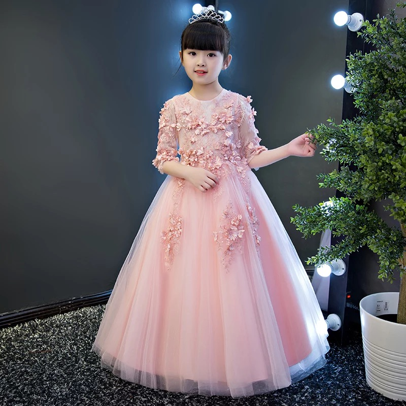 цены 2018 Spring New Children Girls Princess Lace Flowers Party Dress Sweet Pink Birthday Wedding Party Luxury Long Ball Gown Dress