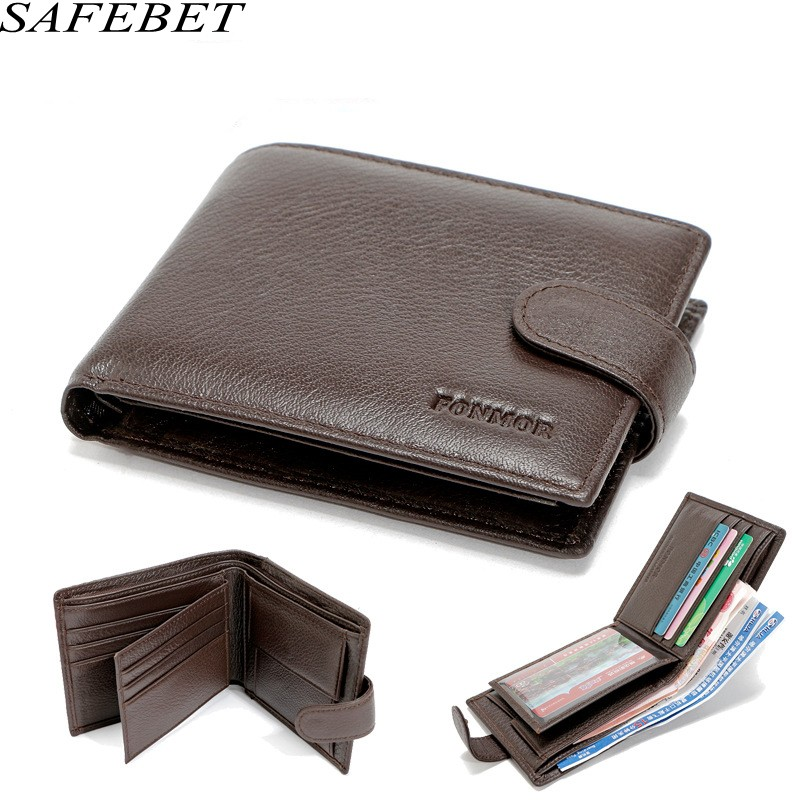 SAFEBET Brand Men wallet Genuine Leather Short Section Convenient Card Holder For Wallet Fashion Ultra thin Mens Multi-card bit
