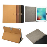 Ultra Slim Retro Cowhide Matte Pattern Stand PU Leather Protector Shell Book Cover Case For Apple