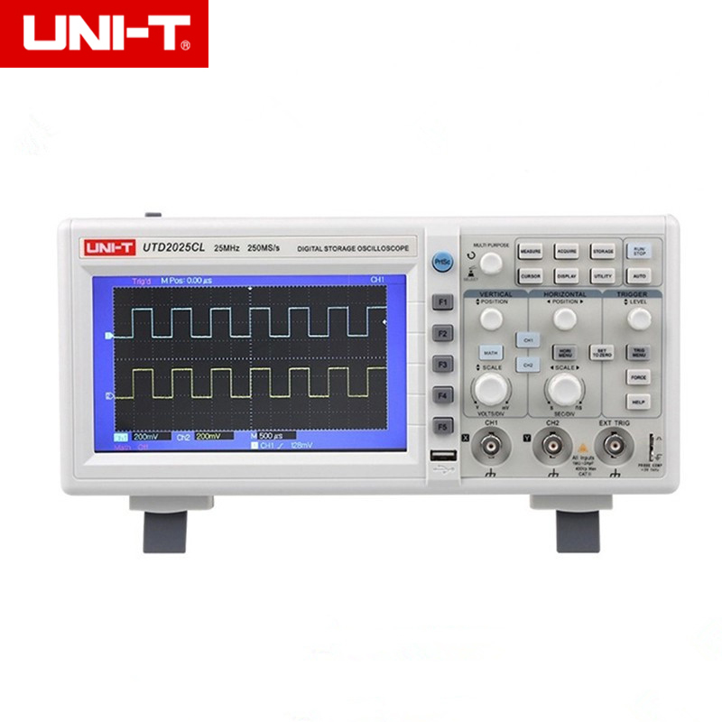 UNI-T UTD2025CL Digital Storage Oscilloscopes 2 Channels 250MSa/s Sample Rate 7''TFT LCD Scopemeter 100-240VAC high accuracy uni t utd2052cex utd2102cex digital storage oscilloscopes 2 channels 100 200mhz 1gs a scopemeter 7 inches lcd