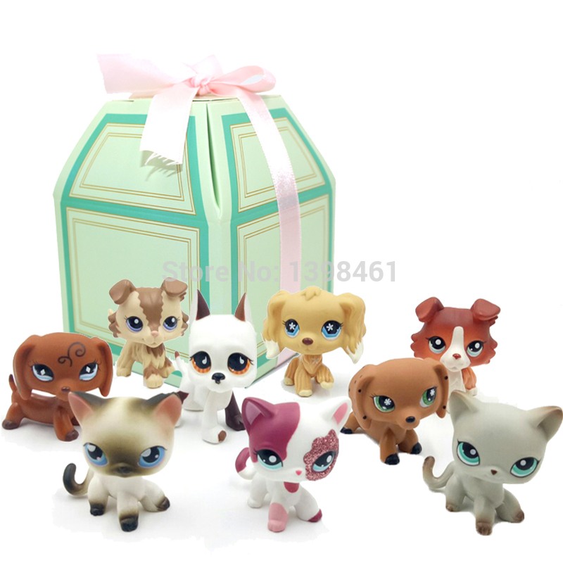 Pet Shop Lps Toys Standing Littlest Short Hair Cat Grey #5 Rare Dog Dachshund Collie Spaniel Great Dane With New Year Gift Box