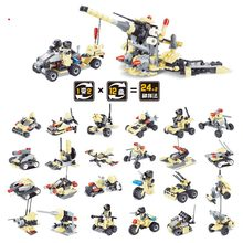 Counter terrorism Chariot team swat military tanks boat Building Blocks Sets with  figures DIY Bricks Toys For Children Kids