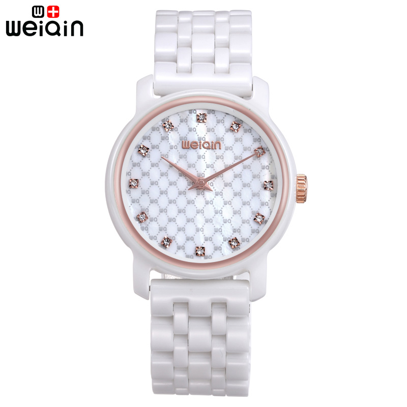 WEIQIN Casual 100% Ceramic Band Women Watch Elegant Crystal Diamond Women's Wristwatches Date Beautiful Bayan Kol Saati 2018 weiqin new 100