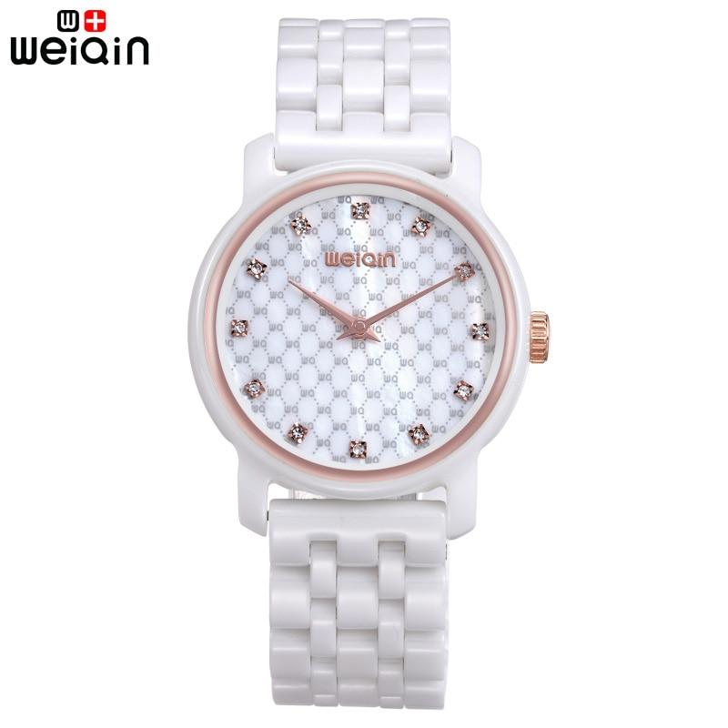 WEIQIN décontracté 100% bande en céramique femmes montre élégant cristal diamant montres femmes Date belle Bayan Kol Saati 2019