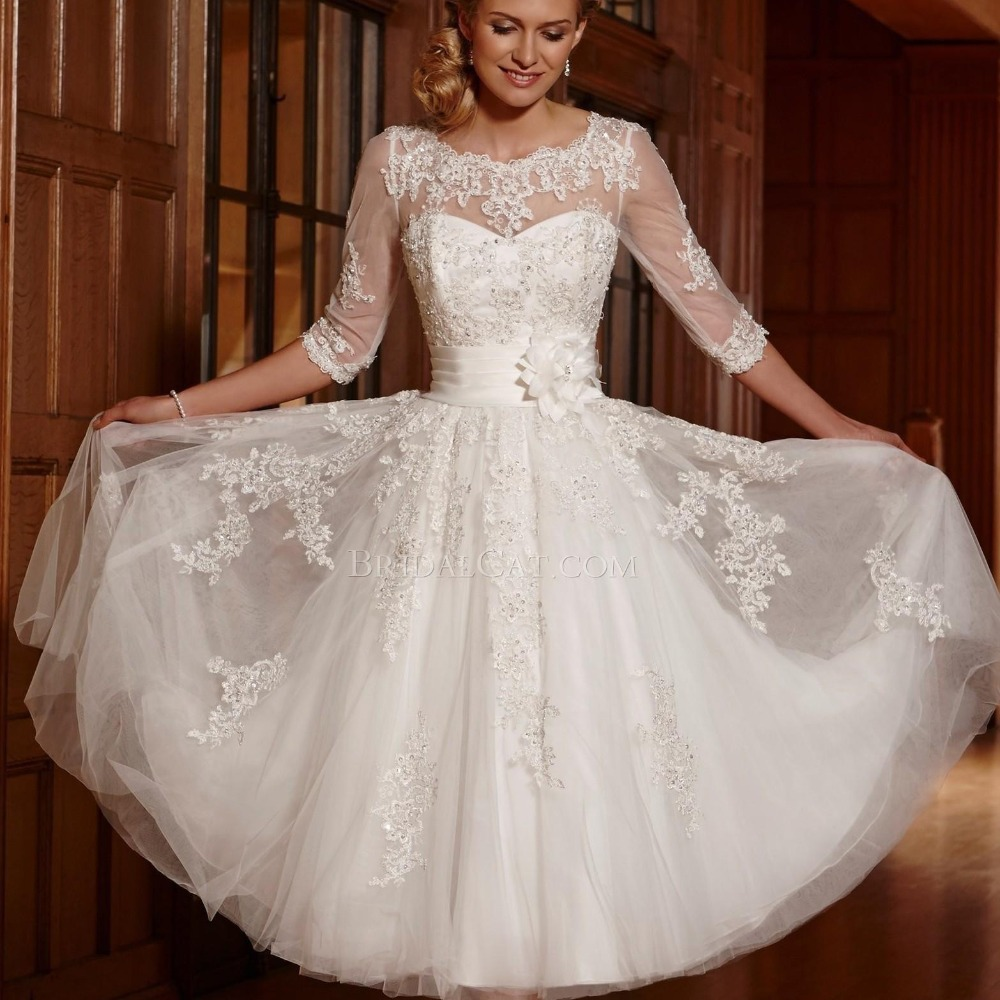 Buy Short Wedding Dress A Line Bateau