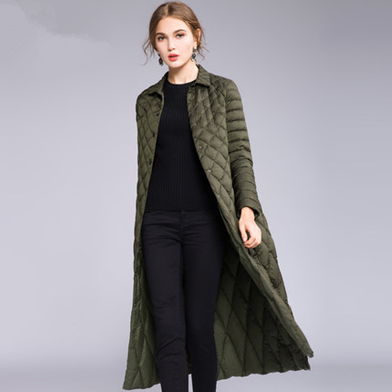 Women Overknee Long Padded Down Jackets Winter Light Down Coats Elegant Female Jacket Overcoats 2018 New Winter Clothes CH807 (1)