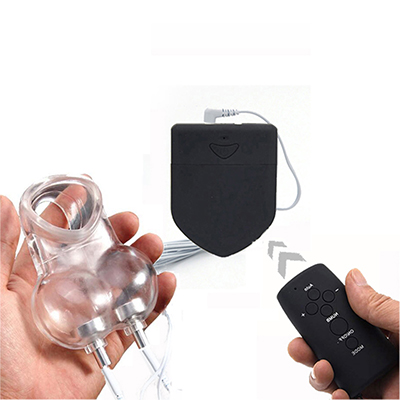 Wireless Remote Control Electro Shock Chastity Cage Penis Ring <font><b>Sex</b></font> <font><b>Toys</b></font> <font><b>For</b></font> <font><b>Men</b></font> Scrotum Sleeve <font><b>Ball</b></font> Stretcher Cock Ring Cage image