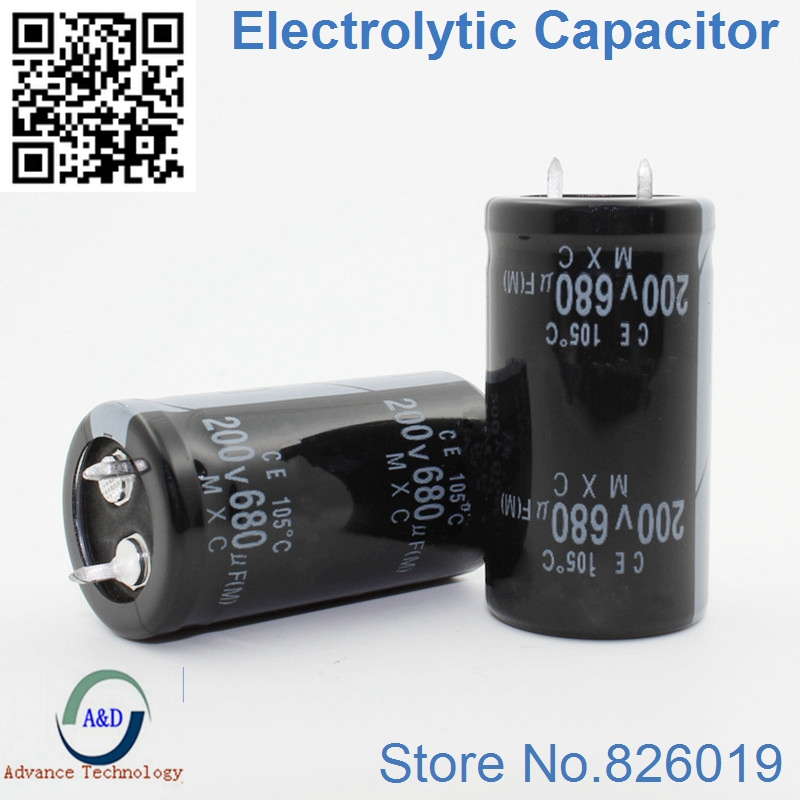 6pcs/lot 200v 680uf Radial DIP Aluminum Electrolytic Capacitors Size 22*40 680uf 200v Tolerance 20%