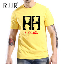 RJJR Rock ChakaKhan Noodle Murdoc Band Short Sleeve Gorillaz T Shirt Men Fashion t-shirt Male Clothes Yellow Pink Tops Tees RJ61