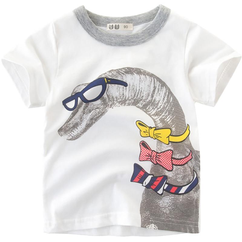 Boys T-Shirts Cute Fun Dinosaur Design Girls Tops Summer 2018 Kids Clothes 100% Cotton Children Short Sleeve Tshirt Baby Shirts