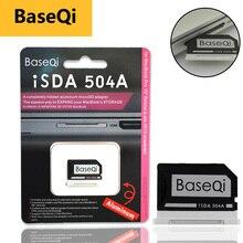"""BaseQi Adaptador de tarjeta de aluminio MiniDrive, lector de tarjetas Micro SD, Ninja Stealth Drive para Macbook Pro Retina, tarjeta de memoria de 15"""""""