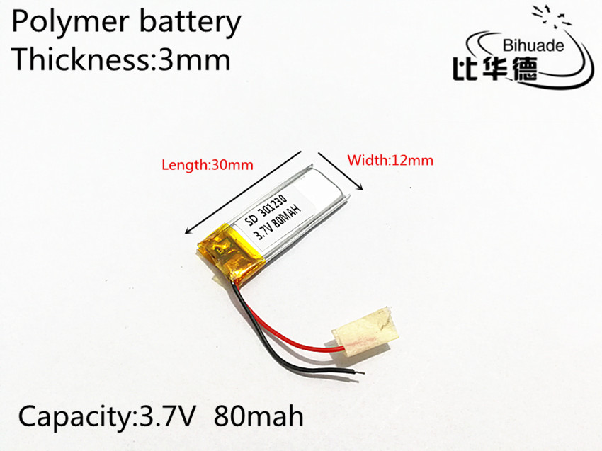 3.7V 80mAh 301230 Lithium Polymer Li-Po li ion Rechargeable Battery cells For Mp3 MP4 MP5 GPS
