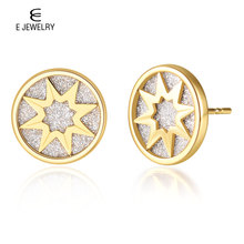 цена на E Jewelry Gold Star Stainless Steel Stud Earrings Round Coin Fashion Earrings for Women 2019 Statement