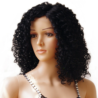 s-noilite 40cm Medium Kinky Curly Bob Lace Front Wig Heat Resistant 100% Synthetic Hair Full Wigs Dark Black