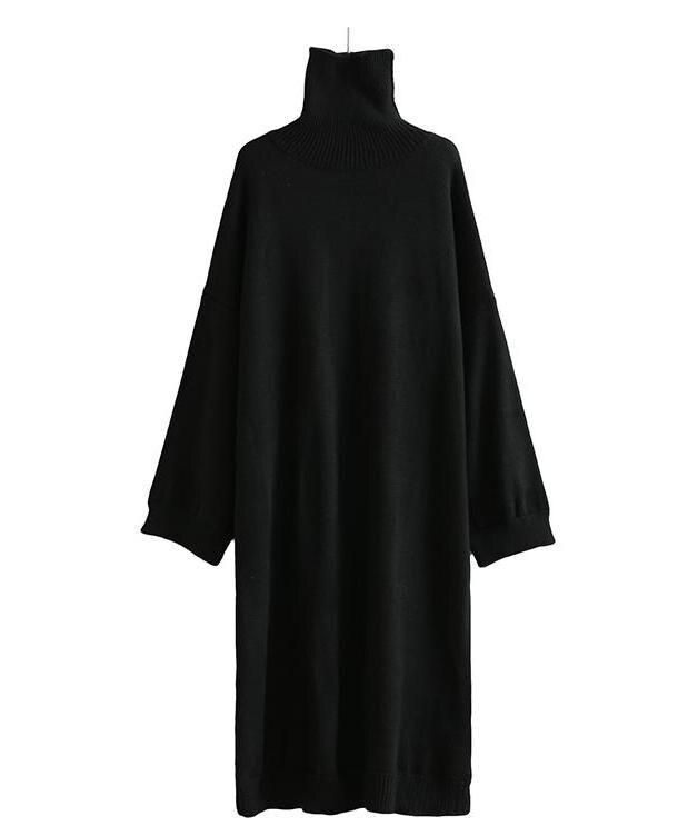 Belle Col Forme À Porter Noir Taille Hiver Manches Chauve Femmes Chaud Tricoté En Long Robe Libre Pullover De souris Mode Tortue e2 4rqwE4gF