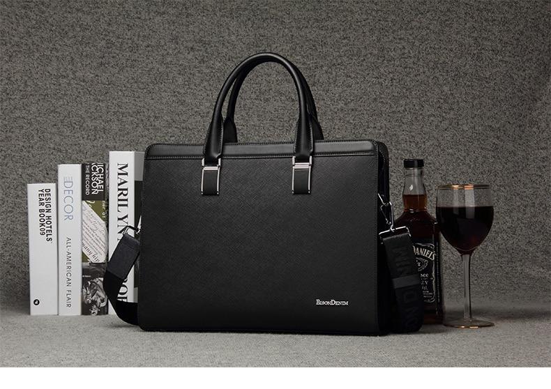 HTB1TA1YgYZnBKNjSZFKq6AGOVXaE BISON DENIM Genuine Leather Handbag Men Business Messenger Bag 14'' Laptop Tablet leather Shoulder Bag Crossbody Male bags N2317