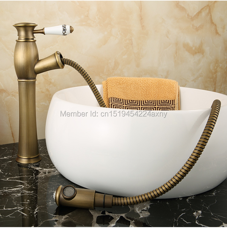 GIZERO Bathroom Countertop Faucet Pull Out Mixer Antique Brass Basin Flexible Faucet Hot and Cold Tap GI82GIZERO Bathroom Countertop Faucet Pull Out Mixer Antique Brass Basin Flexible Faucet Hot and Cold Tap GI82
