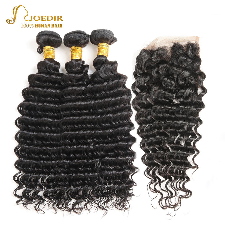 JOEDIR Hair Indian Deep Wave hair Pre-Colored 3 Bundles With Closure 4*4 Swiss Lace Closure Non Remy Human hair Weaves ...