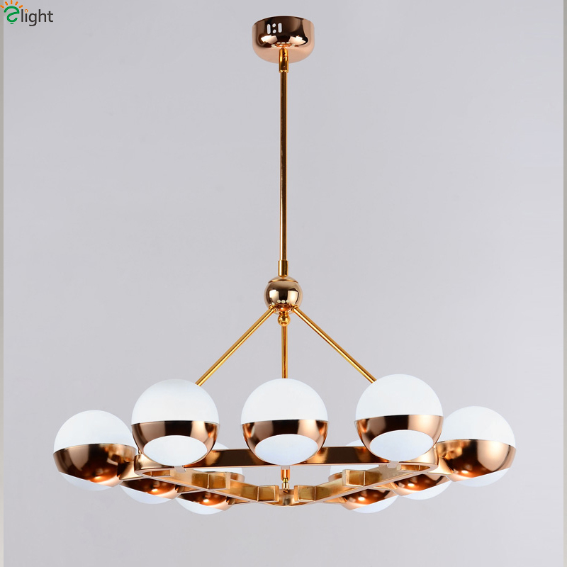 Modern Simple Glass Ball Led Pendant Chandeliers Lights Fixtures Lustre Gold Metal Dining Room Led Chandelier Lighting Luminaria