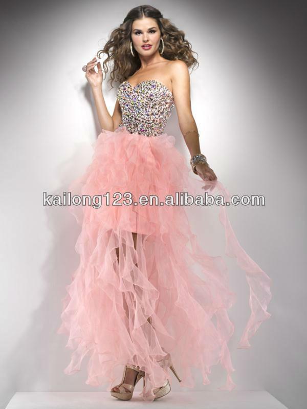 Short Front Long in Back Dress in Black Pink