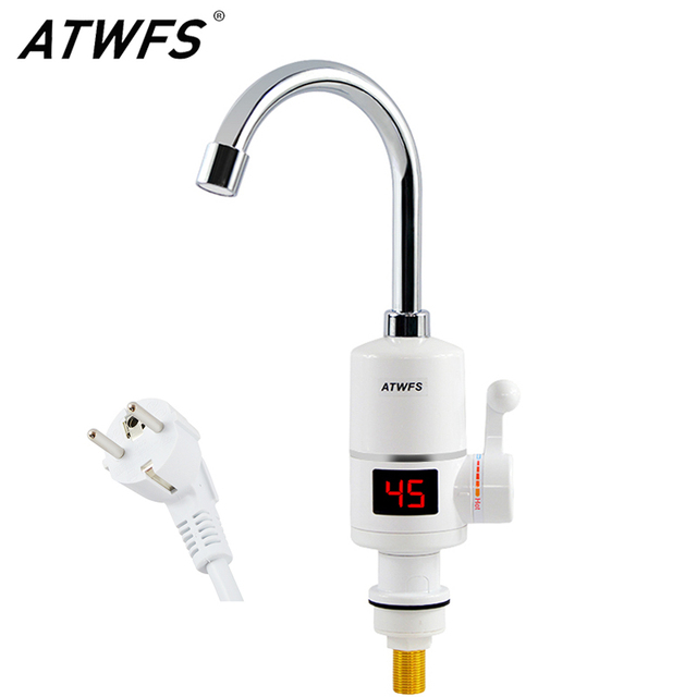 Termostato instantâneo para torneira atwfs, aquecedor de água quente instantâneo rápido para torneira elétrica 3000w com display de temperatura
