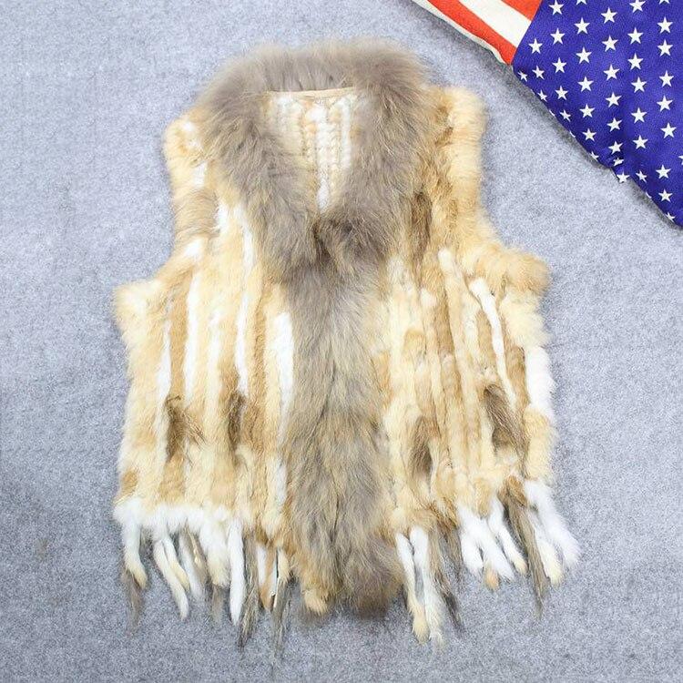 Vente chaude naturel tricoté lapin fourrure de raton laveur gilet pour femme avec col en fourrure glands femmes automne réel lapin fourrure veste gilet