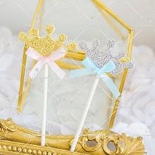 10pcs Princess Crown Cake Topper Baby 1st Birthday Gender Reveal Party Decoration Wedding Lovely Decor Free Shipping
