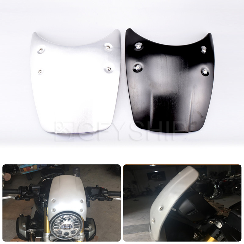 Motorcycle Aluminum Windshield Headlight Windscreen Accessories For BMW R NINE T 2014 to 2017 R NINET Wind Deflectors R9T 17 motorcycle front engine case cover breast plate protection accessories for bmw r nine t 2013 to 2017 2018 r ninet pure scrambler