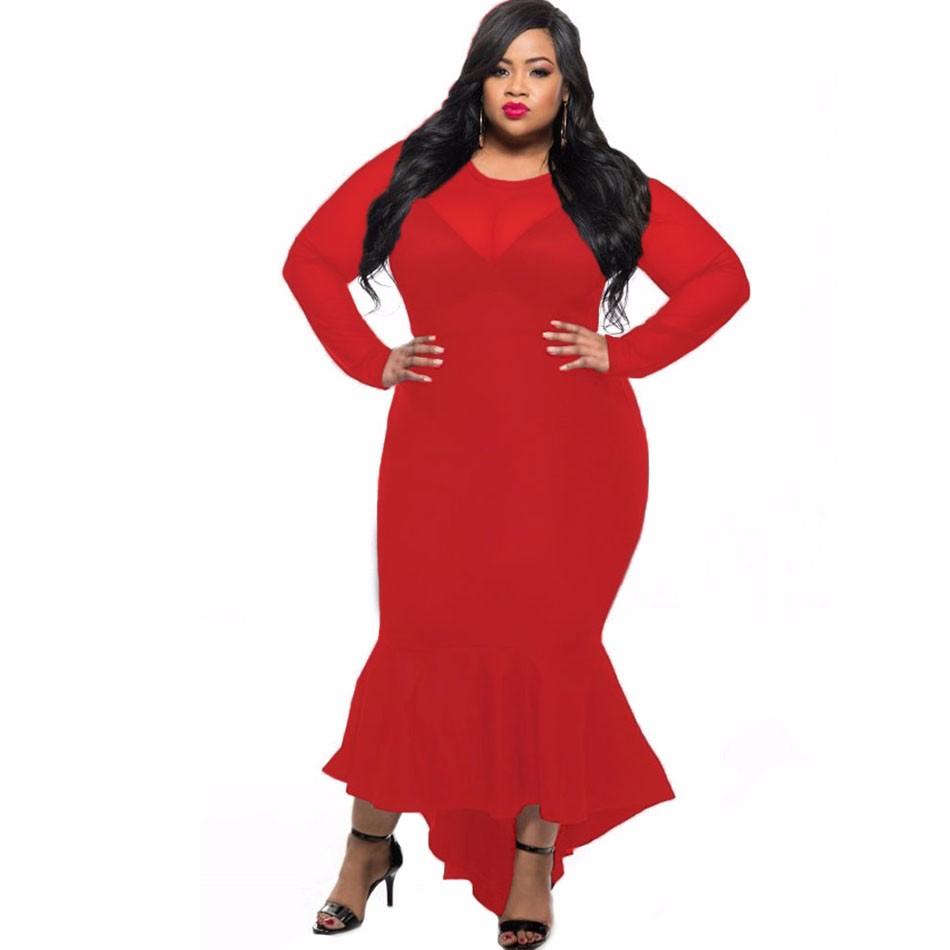 Red-Sheer-Mesh-Splice-Curvy-Mermaid-Dress-LC61086-3-1