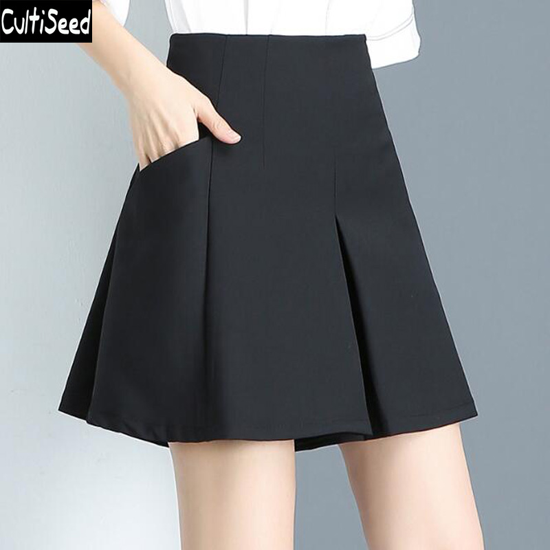 Cultiseed Women Skirt Female High Waist Office Work Party Skirts Clothing Ladies Summer Solid Color Plus Size Skirt S-4XL