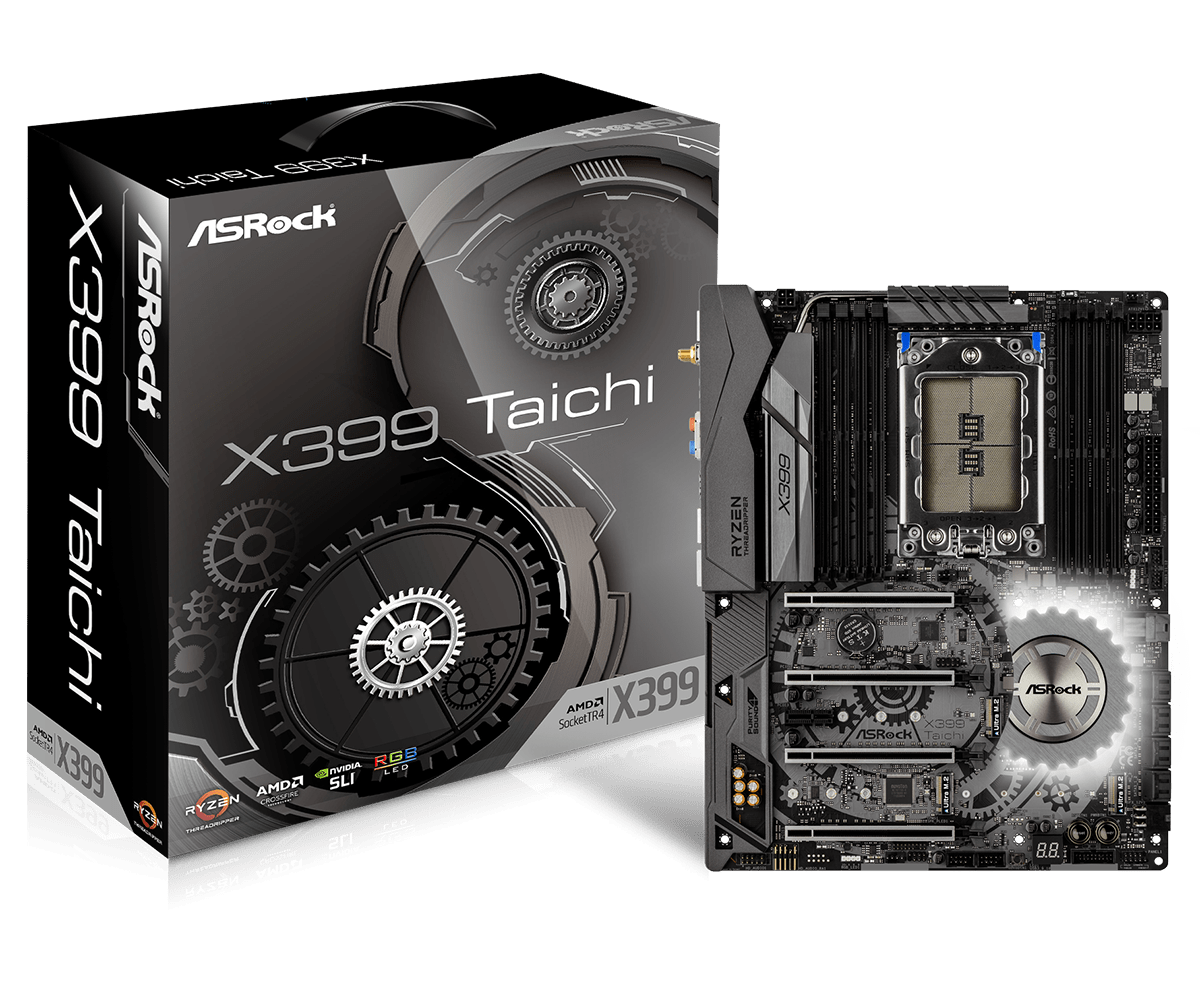 ASROCK X399 Taichi desktop computer motherboard supports 1950X CPU