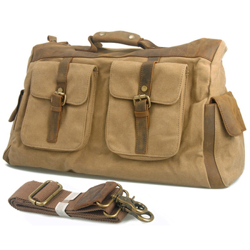 2019 Fashion Vintage Crazy Horse Leather Canvas Luggage Travel Bags Mens Large Capacity Duffel Overnight Bag Weekend bag