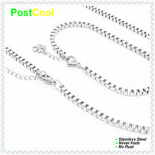 Chain Width 3MM Box Style Fashion Jewelry Sets 100% Stainless Steel Necklace 40/50/60/70/80/90cm/Bracelet 18/20/22cm 15 DIY(China)