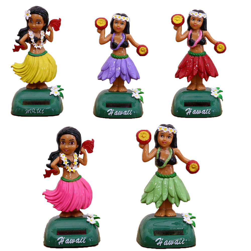 Girl Shaking Head Figurines Home Decoration Accessories Ornaments Miniatures Solar Powered Toy Home Interior Decor