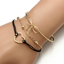 3pcs/set Retro Bangle Gold Bow Heart Pendant Open Bracelet Cuff Bracelet Women Party Weddi