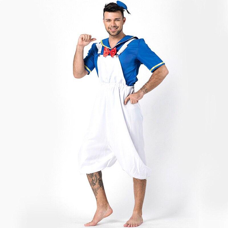 Adult Men Halloween Sailor Jumpsuit Costume Suspender Sling Cropped Pants White Blue Uniform For Male