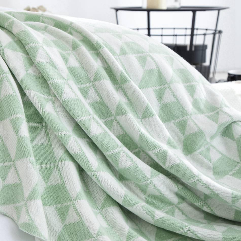 Triangle géométrique noir vert couvertures tricotées sur les lits et canapé 100% coton Rectangle couvertures pour adultes couvertures douces