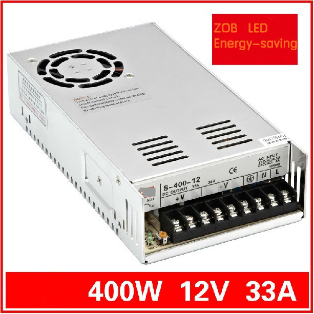 FREESHIPPING 400W LED Switching Power Supply,12V 33A,85-265AC input,power suply 12V Output CE ROSH HOTSELL S400W-12V-33A freeshipoing 360w led switching power supply 85 265ac input 12v 30a for led strip light power suply ce rosh 12 output