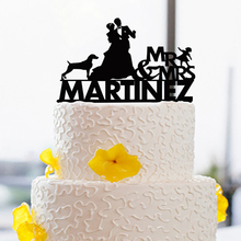 Personalized Wedding Cake Topper For Couple with Child And Dog Wedding Cake Topper Custom