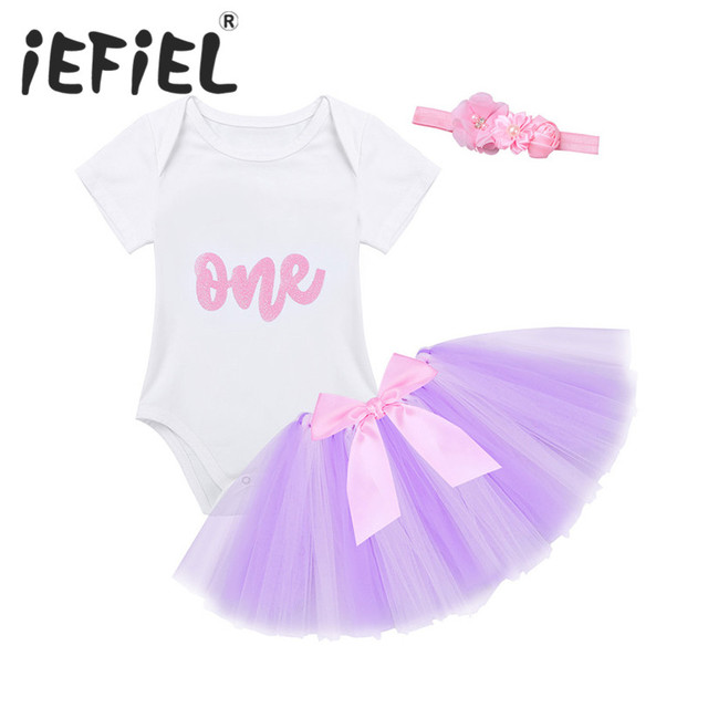 iEFiEL Newborn Toddler Infant Baby Girls Set One Year First 1ST Birthday  Romper with Tutu Skirt Outfits for Prom Costumes Party 70f29a9d1e05