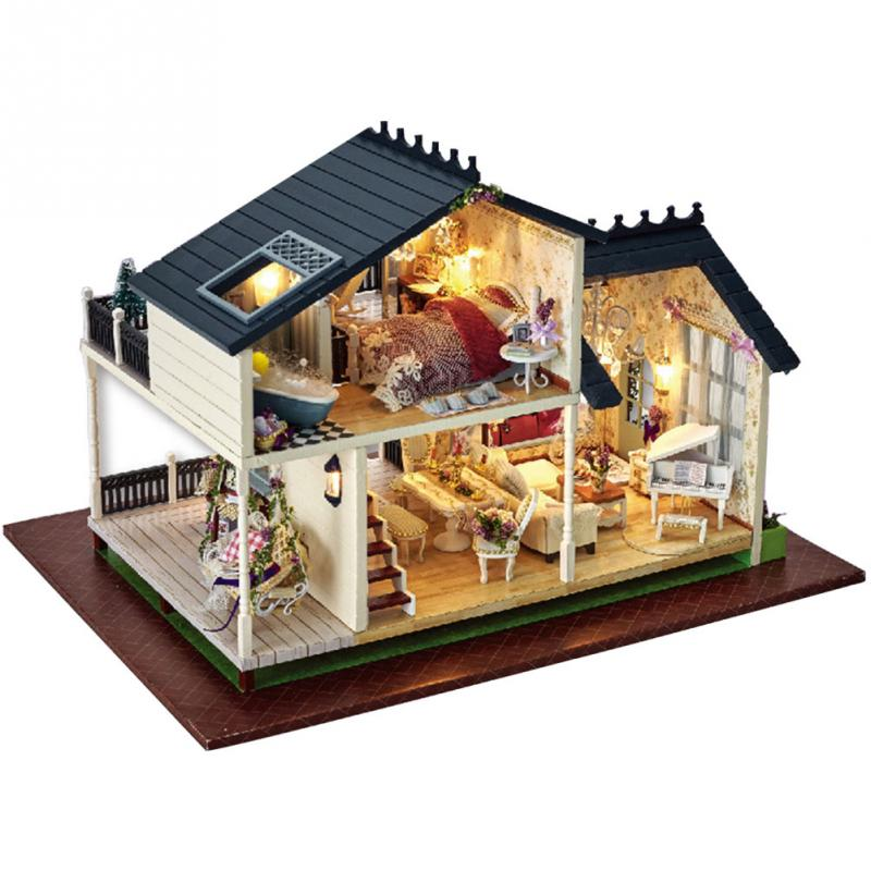 DIY Wooden Dolls House Handcraft Miniature Kit Provence villa Model /& Furniture /& Voice controller Music box