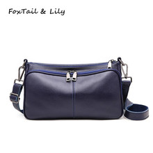 Foxtail Lily Two Straps Women Shoulder Bag Genuine Leather Luxury Crossbody Bags Soft Cow Handbag Multi Compartments