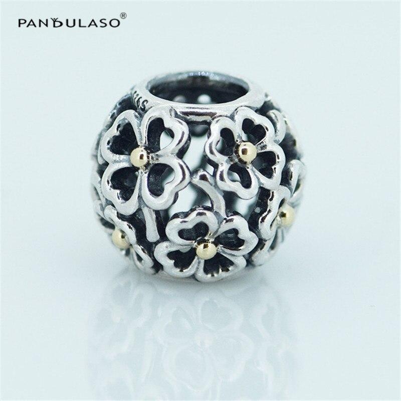 Pandulaso 황금 장미 꽃 빈티지 구슬 매력 실버 925 원래 팔찌 DIY 보석 고급 보석 만들기