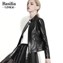 Genuine leather short coat female motorcycle clothing stand collar slim jacket 2017 autumn and winter sheepskin leather jacket